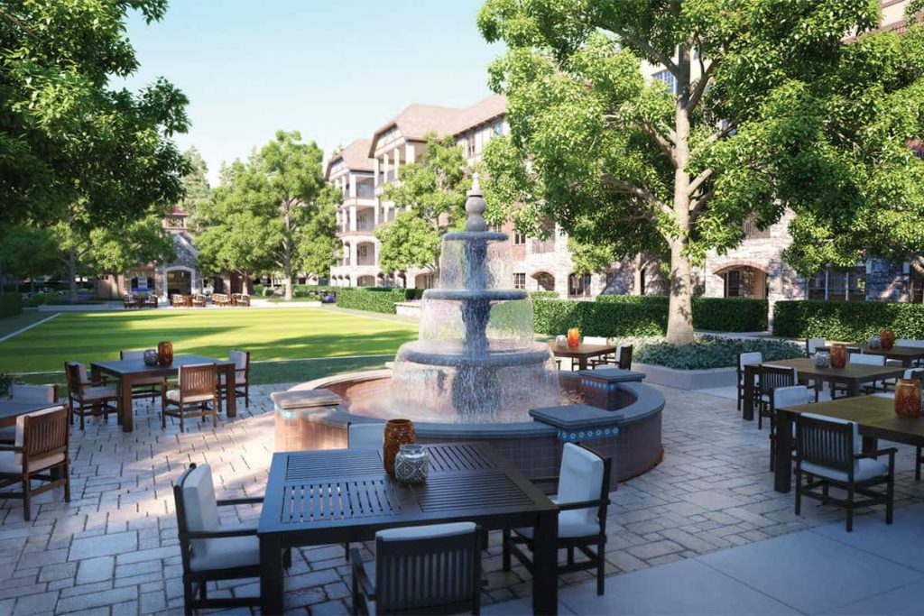 Photo of the courtyard at Peachtree Hills Place, a 55+ independent living community